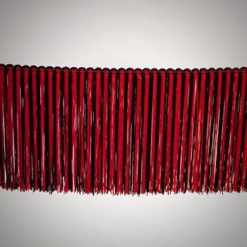 Fleco sencillo de 15 cm color negro y rojo de 3-4 vueltas tupido