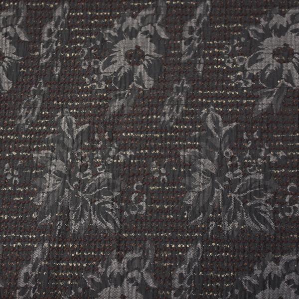Tela semi-gruesa rasgada especial para vestido de gaita color marrón relieve gris-verde