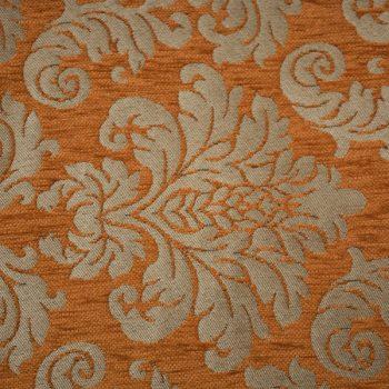 Tela gruesa brocada especial para vestido de gaita color crema-naranja