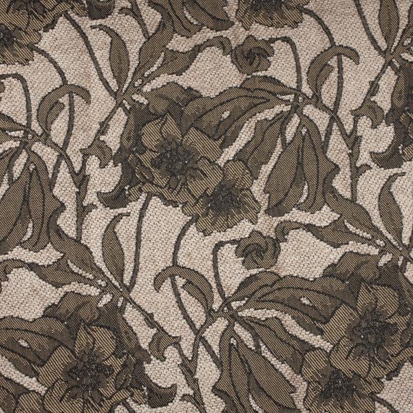 Tela gruesa brocada especial para vestido de gaita color crema-marrón