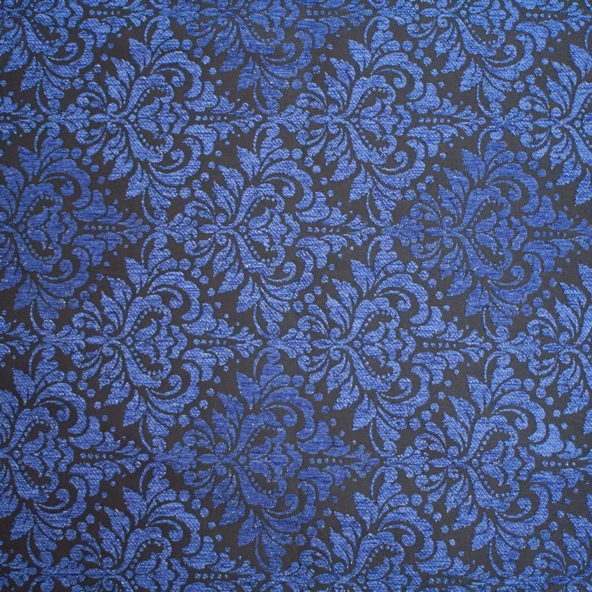 Tela brocada azul-negro para vestidos gaita