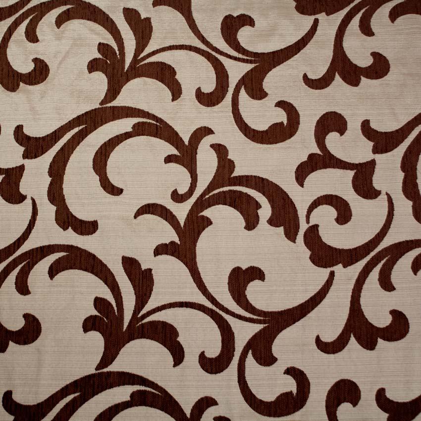 Tela brocada beige-marrón para vestidos gaita