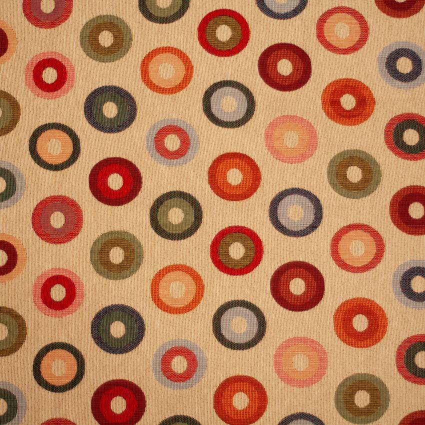 Tela con motivos circulares multicolor para vestidos gaita